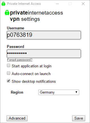 Settings dialogue of the PrivateInternetAccess software, prompting user for username and password